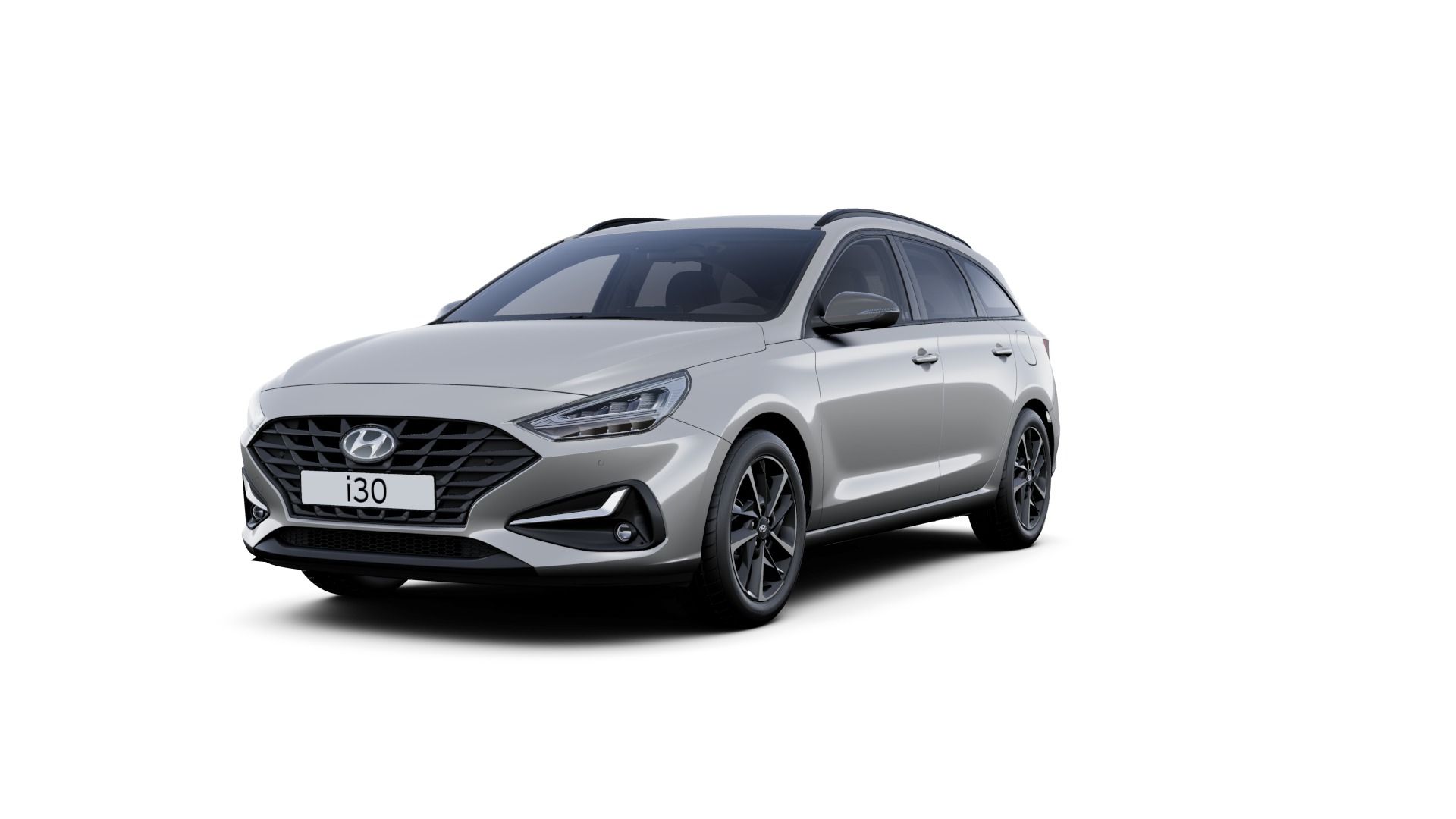 Front side view of the new Hyundai i30 Wagon in the colour Shimmering Silver.